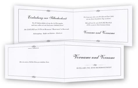 silberhochzeit einladungskarte vorlage feinekartencom