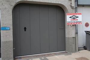 porte grise panneaux lisses smf services With porte garage grise