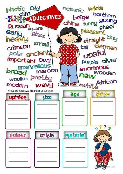 parts  speech adjectives worksheet  esl