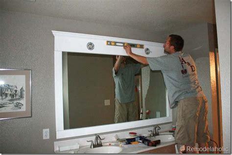 framing a large bathroom mirror diy