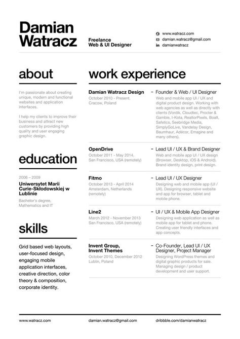 Cool Resume Formats by Swiss Style Resume 2014 By Damian Watracz The