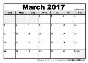 Blank March Calendar 2017 Printable