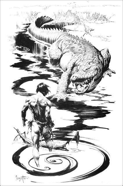 #FrazettaFriday: 'Huge Fanged Jaws' by Frank Frazetta | Lord of the Jungle | Frank frazetta, Art
