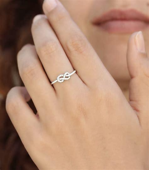 infinity knot diamond ring mini figure  knot gold ring