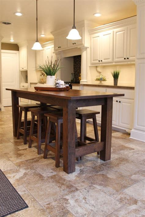 Island Ideas With Bar by Rustic Farmhouse Bar Island Table With 6 Barstools