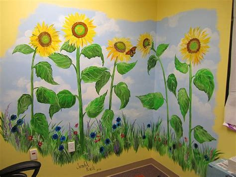 hand painted sunflower mural wall murals garden mural