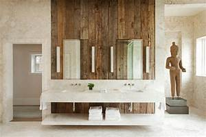Wood wall decor ideas bathroom rustic with marble floors for Kitchen cabinet trends 2018 combined with beauty salon wall art