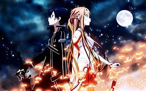 Kirito x Asuna Moonlight - Sword Art Online Wallpaper ...