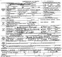 Peter Lawford Death Certificate