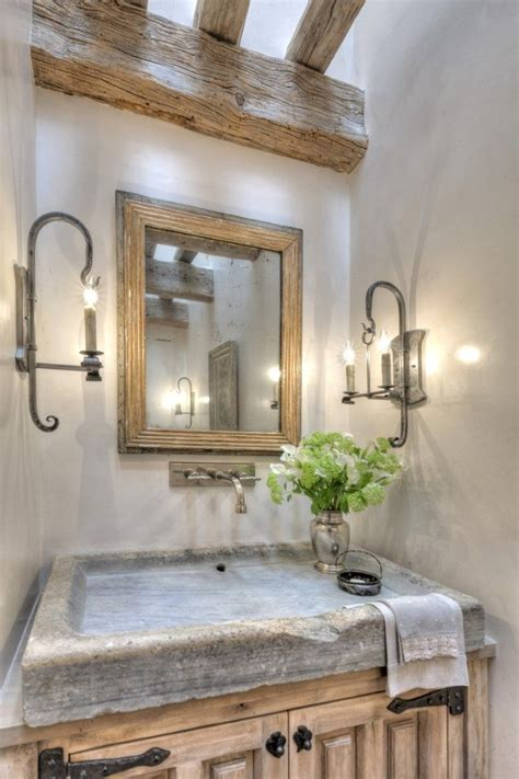 rustic country bathroom   shallow stone sink