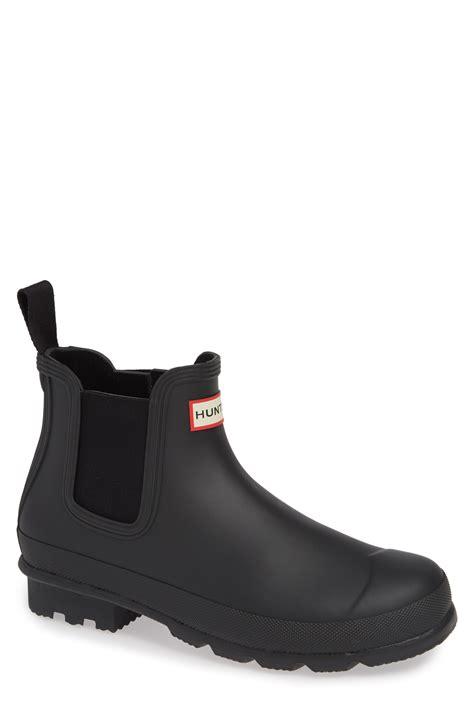 hunter rubber original waterproof chelsea rain boot  brown  men lyst