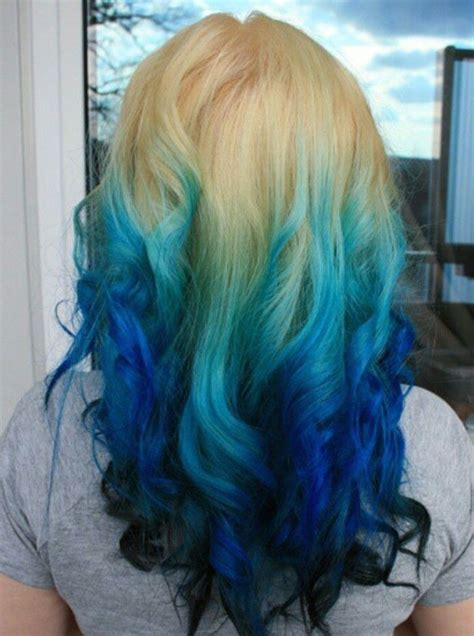 Blonde Turquoise Navy Blue Ombre Dip Dyed Hair Blue Hair