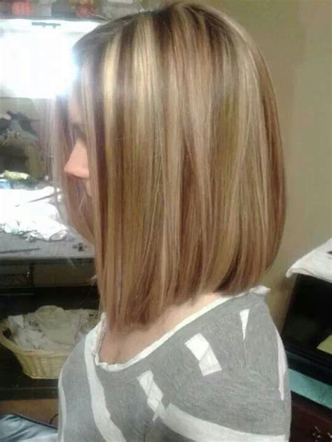 long bob  red lowlights blonde highlights hair
