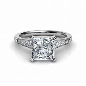 graduated milgrain princess cut diamond engagement ring in With wedding rings princess cut