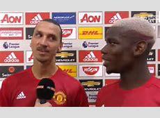 Manchester United star Zlatan Ibrahimovic shows Paul Pogba
