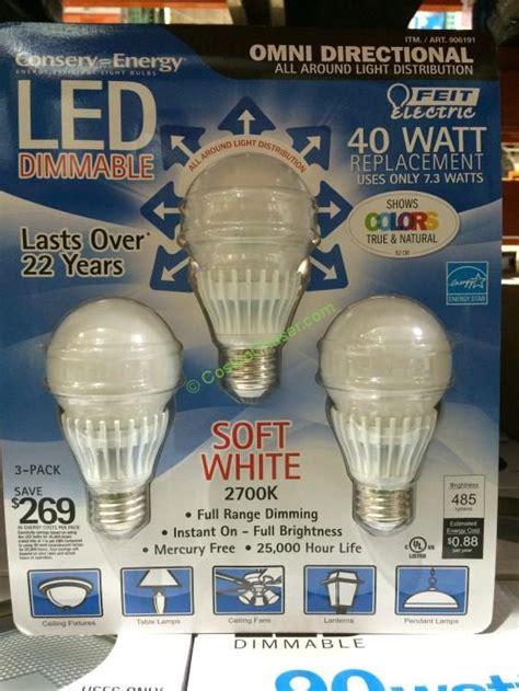 costco light bulbs feit dimmable led light bulb 40 watt replacement 3 pack
