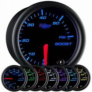 52mm Glowshift Black 7 Color 60 Psi Turbo Diesel Boost Gauge