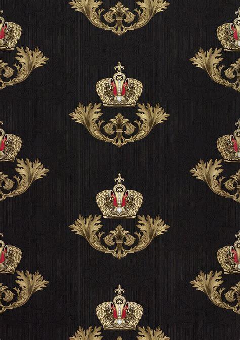 Hier finden sie auch die komplette kollektion. Glööckler Tapete Vlies Krone Barock schwarz Glanz 54854