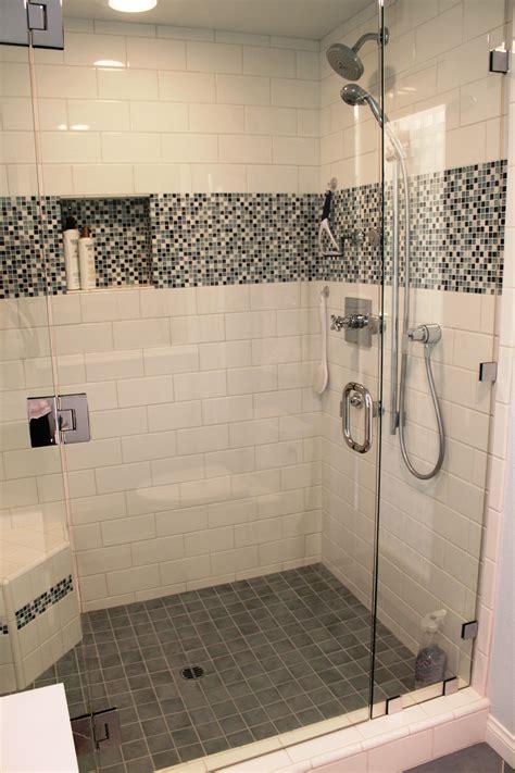 shower remodel white tile glass mosaics huntington