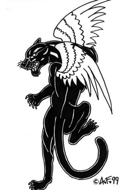 Black Panther with Wings Tattoo - | TattooMagz › Tattoo Designs / Ink Works / Body Arts Gallery