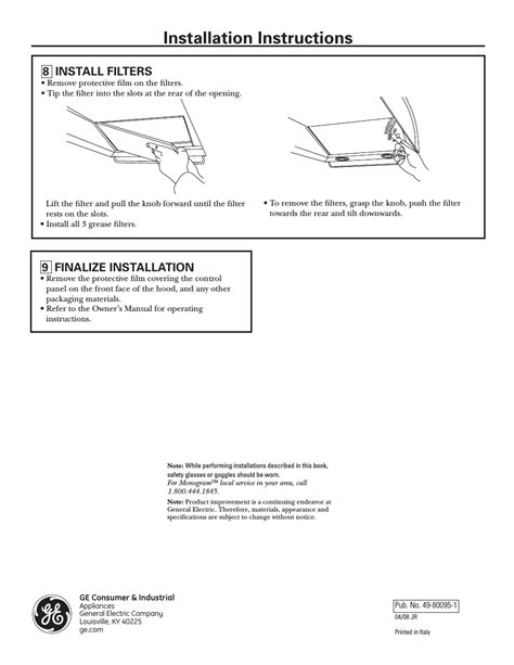 step  install filters step  finalize installation installation instructions ge monogram