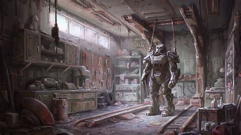 full hd wallpaper fallout  workroom power armor art