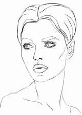 Coloring Makeup Wajah Gambar Sketsa Poto Tools Perempuan sketch template