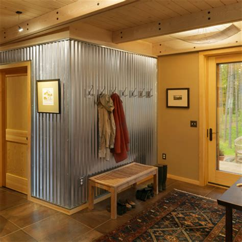 The corrugated panel is a traditional, economical wall or roof panel. HOME DZINE Home Decor   Corrugated sheet metal for indoors