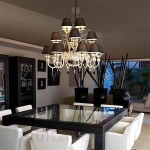Lustre Suspension Design : lustre murano 16 lumi res avec abat jour noir textile faro ~ Teatrodelosmanantiales.com Idées de Décoration