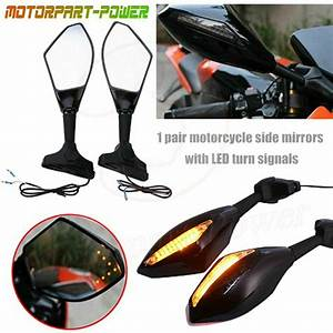 Motorcycle Led Turn Signal Integrated Mirrors For Yamaha