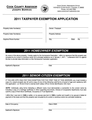 cook county tax exemption forms 2011 taxpayer exemption application fill online
