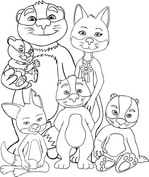 disegno  gruppo de la famiglia volpitassi da colorare