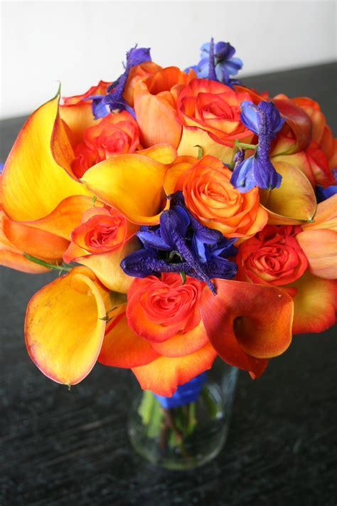 orange  blue wedding flower bouquet bridal bouquet