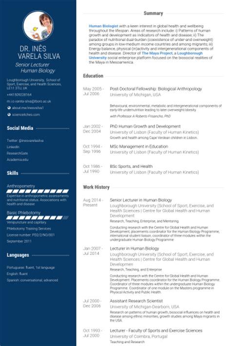 Exercise Science Degree Resume by Lecturer Resume Sles Visualcv Resume Sles Database