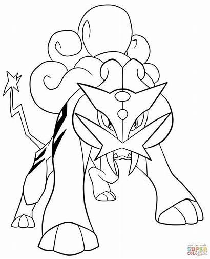Coloring Pages Raikou Pokemon Printable Drawing