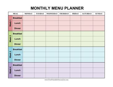 monthly menu template printable monthly menu planner color
