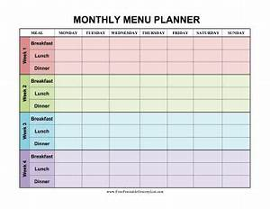 monthly dinner calendar template - printable monthly menu planner color