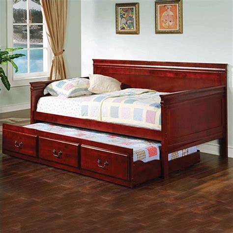 coaster wood daybed  trundle  cherry finish ch