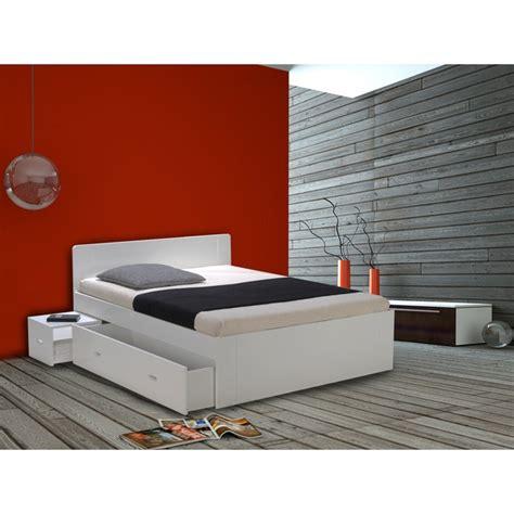 lit 2 personnes blanc laque