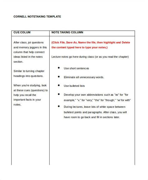 cornell notes template   word  documents