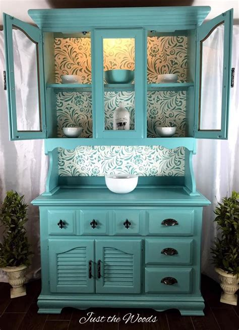 sea foam painted china cabinet  stencil backing