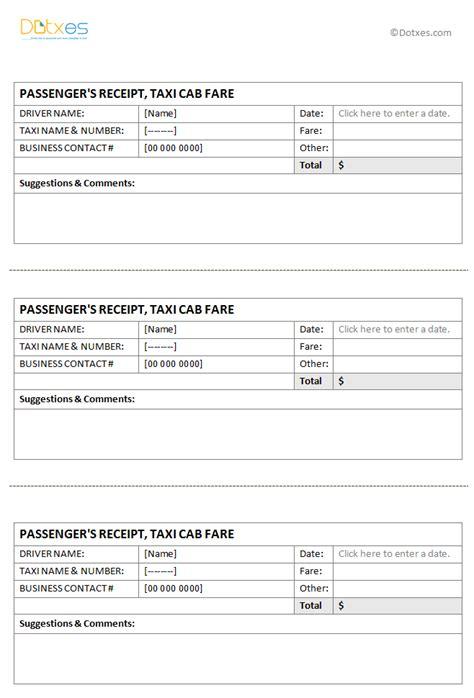 taxi receipt template   page dotxes