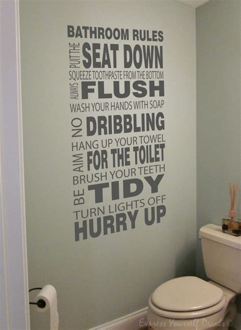 Bathroom Rules Wall Decal Sticker Quote Bathroom Wall Decal