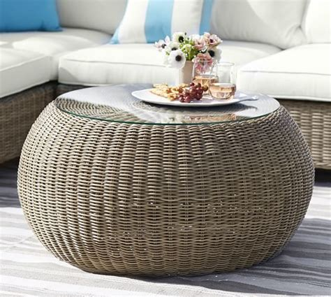 torrey all weather wicker round coffee table natural