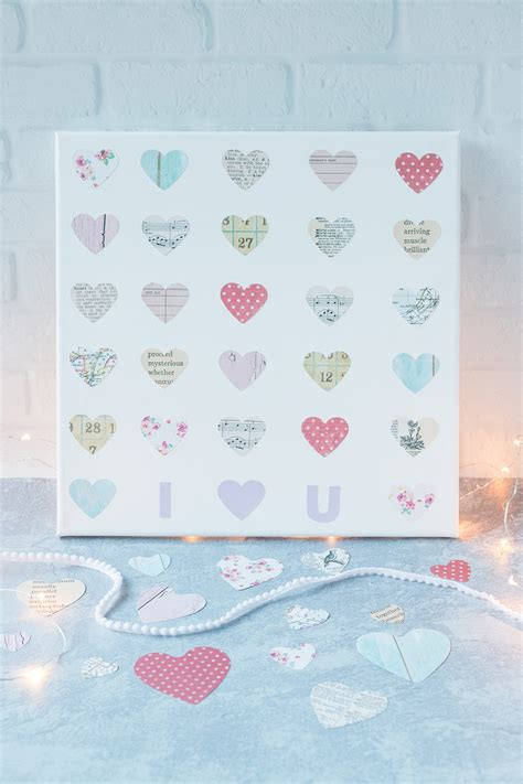 diy valentines day hearts canvas wall art rose clearfield