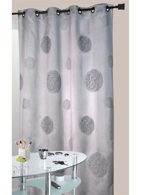 rideau de cuisine et gris rideau gris en shantung brodé ronds mêlés gris