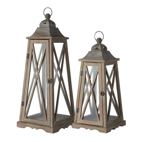 2 lanternes de jardin en bois effet rouille h 80 cm lignon maisons du monde