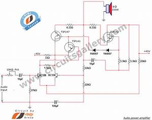 Simple Home Audio Power Amplifier Circuit Schematic