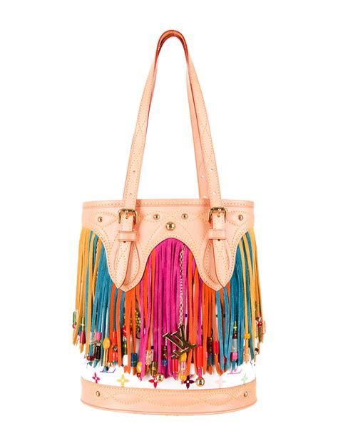 louis vuitton monogram fringe bucket bag handbags lou  realreal
