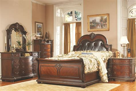 leather bedroom set palace rich brown leather sleigh bedroom set from 12067 | 1394 1 1 5